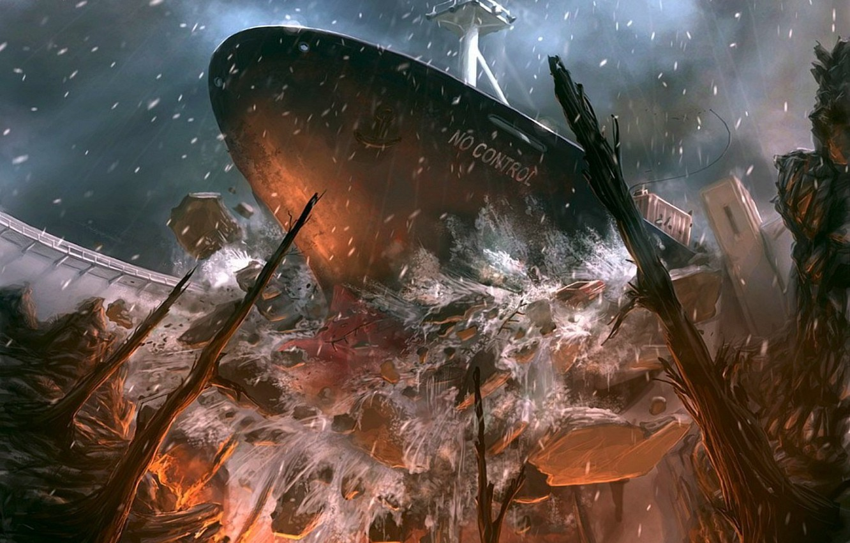 Фото обои корабль, Крушение, 151, плотина