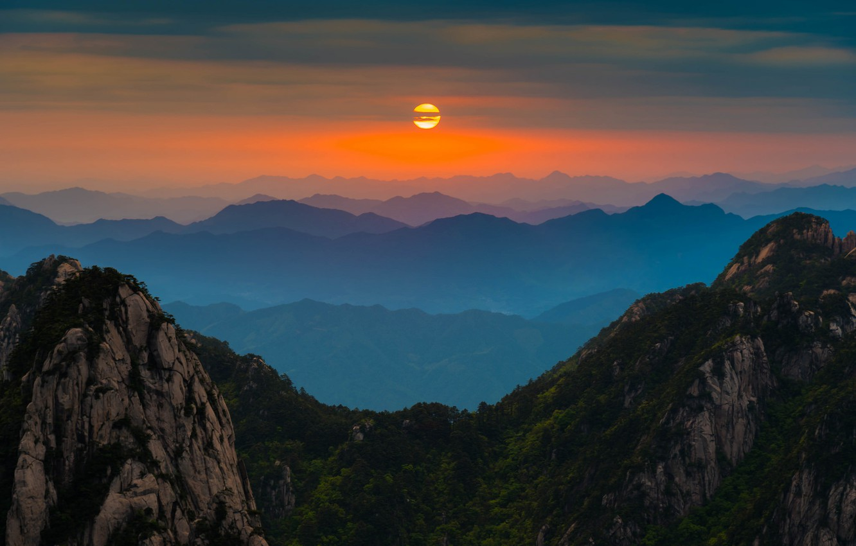 Photo wallpaper clouds, mountains, sunrise, horizon, silhouette, China, orange sky, Anhui, Huangshan