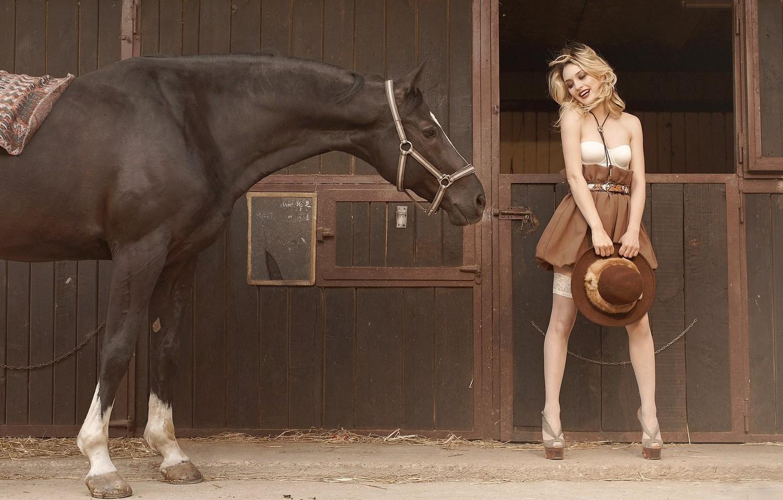 Photo wallpaper girl, horse, horse, stockings, hat, blonde