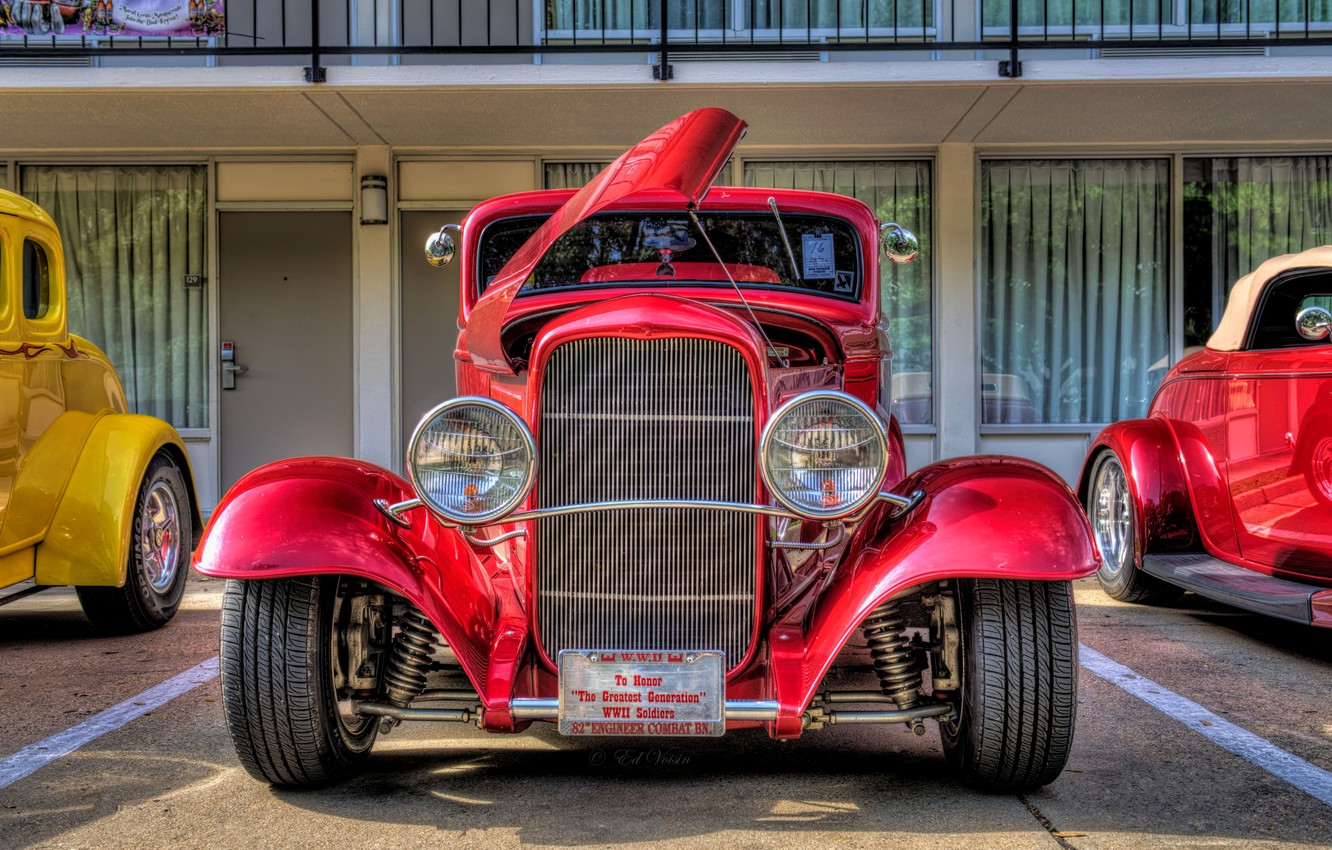 Photo wallpaper Ford, hdr, red, style, retro, coupe, oldtimer