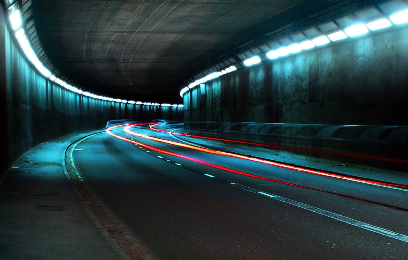 Photo wallpaper road, lights, The tunnel