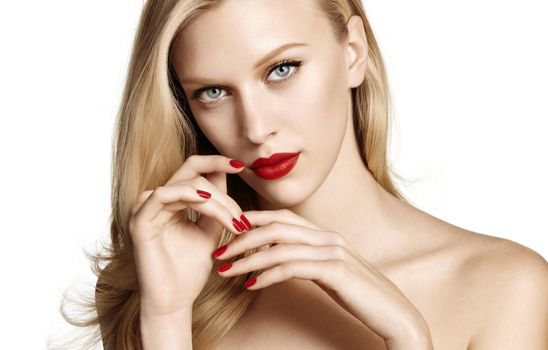 Photo wallpaper girl, portrait, hands, makeup, blonde