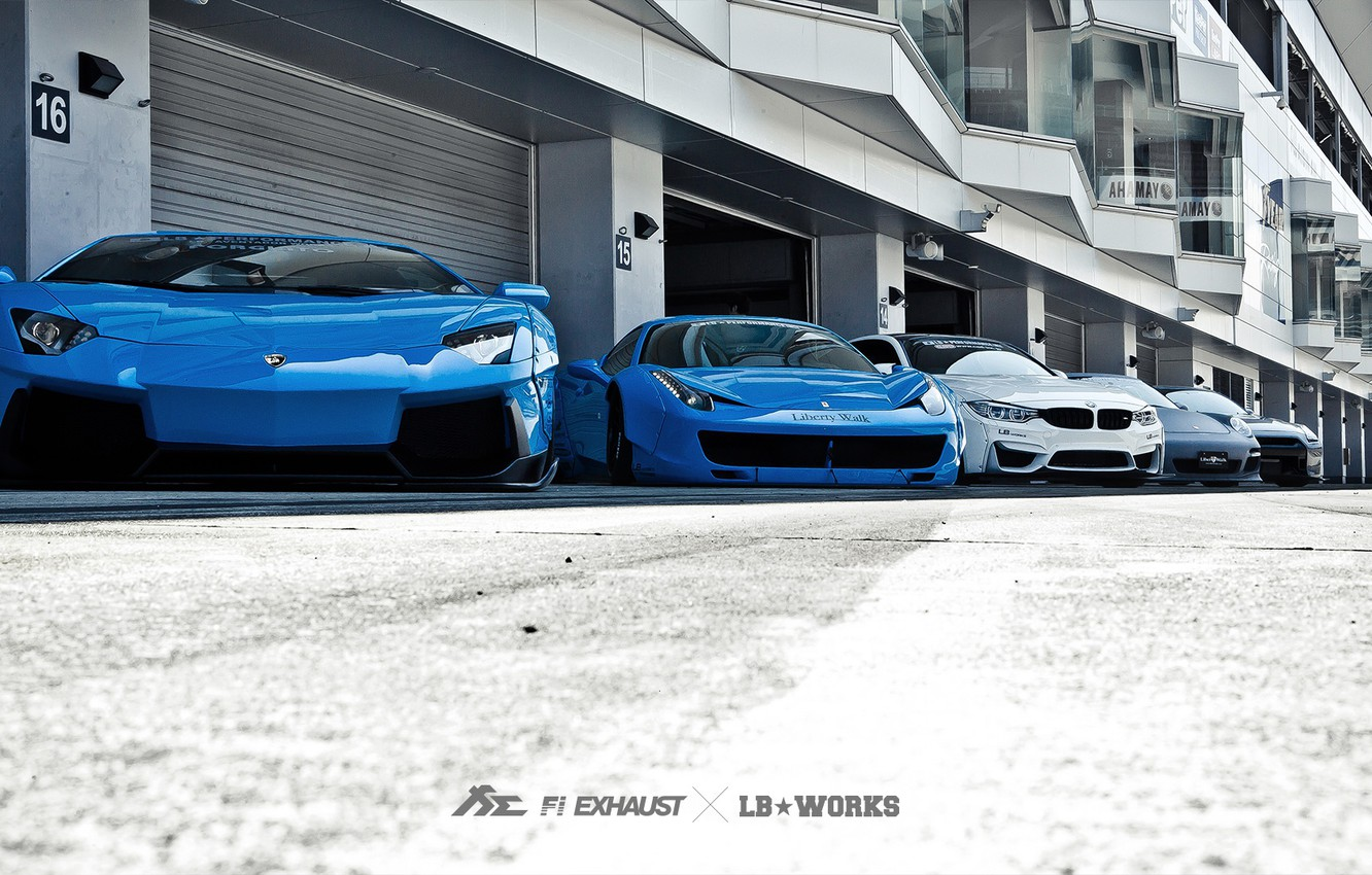 Photo wallpaper machine, tuning, Lamborghini, Porsche, BMW, Ferrari, Nissan, garages, Liberty Walk