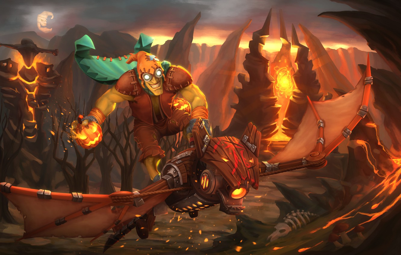 Photo wallpaper fire, art, pumpkin, Goblin, Dota 2, Batrider