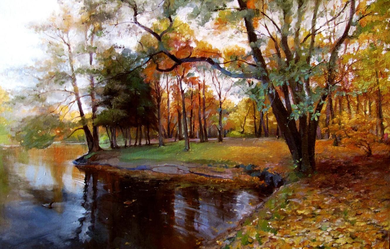 "Photo wallpaper oil, picture, canvas, ""Autumn"""