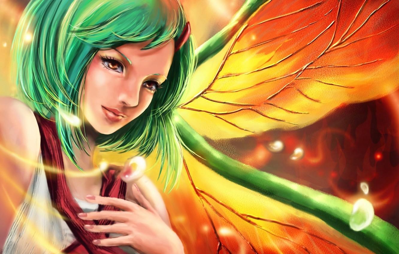 Photo wallpaper girl, wings, art, green hair, naruto, fuu, rikamello