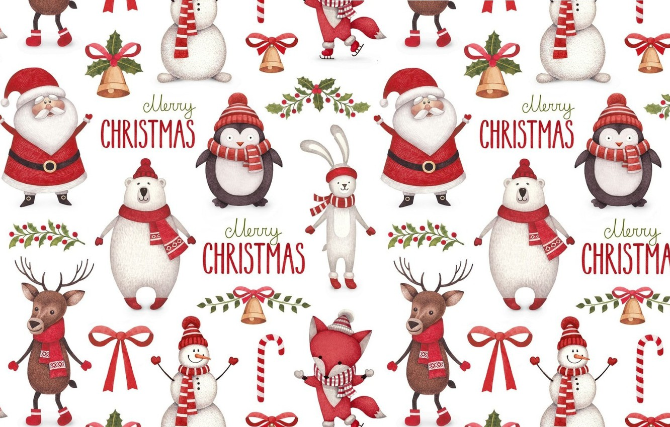 Photo wallpaper background, holiday, texture, deer, New year, horns, penguin, candy, Santa Claus, bell, scarf, Bunny, bow, …