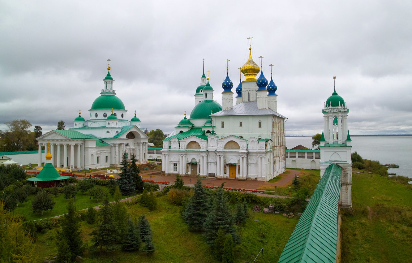 Photo wallpaper the sky, river, wall, cross, yard, Cathedral, the Kremlin, columns, the dome, ROSTOV