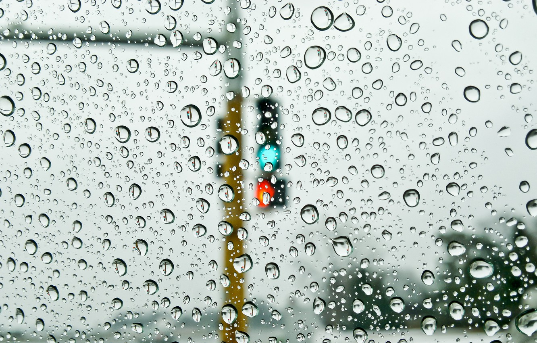 Photo wallpaper glass, water, drops, rain, street