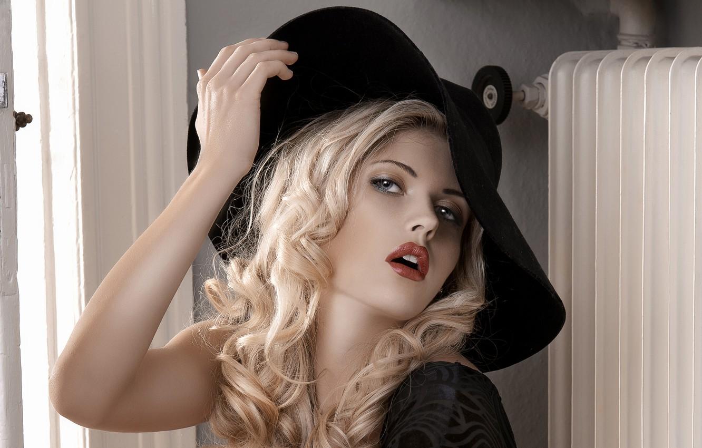 Photo wallpaper hat, Blonde, window, beautiful