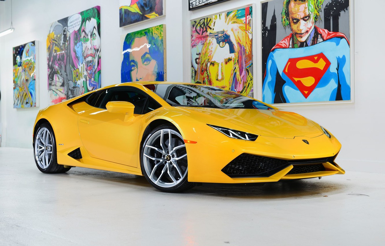 Photo wallpaper Lamborghini, Front, Yellow, Studio, Picture, Supercar, Huracan, LP610-4, Ligth