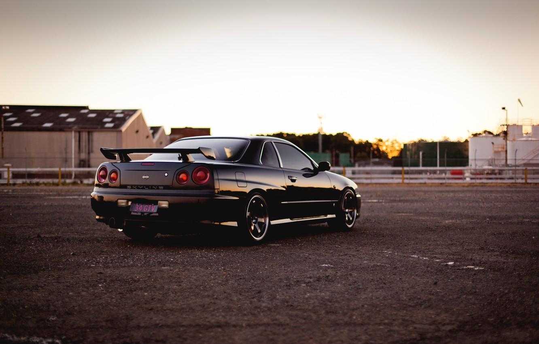 Photo wallpaper Nissan, black, skyline, gtr, r34, railroad