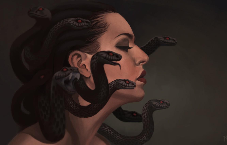 Photo wallpaper snakes, art, profile, gargona, Medusa