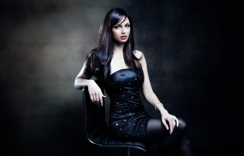 Photo wallpaper look, girl, pose, background, hands, makeup, black dress, sitting, red lips