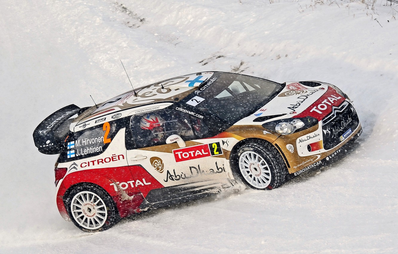 Photo wallpaper Winter, Snow, Citroen, Citroen, DS3, WRC, Rally, Total, M. Hirvonen, J. Lehtinen