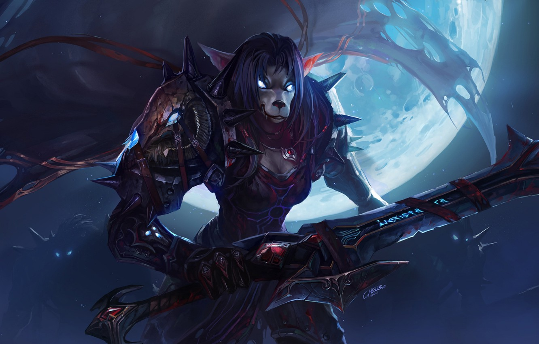 Photo wallpaper night, the moon, blood, sword, armor, spikes, WoW, World of Warcraft, warrior, Worgen, burning eyes
