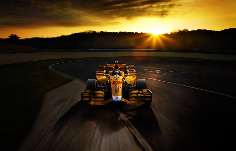 Photo wallpaper Honda, Race, Speed, Sunset, Yellow, Track, Bolide
