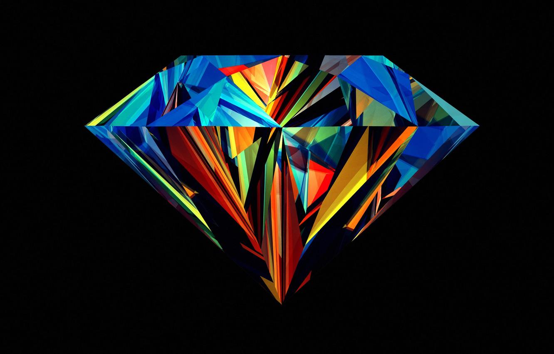 Photo wallpaper faces, color, diamond, black background