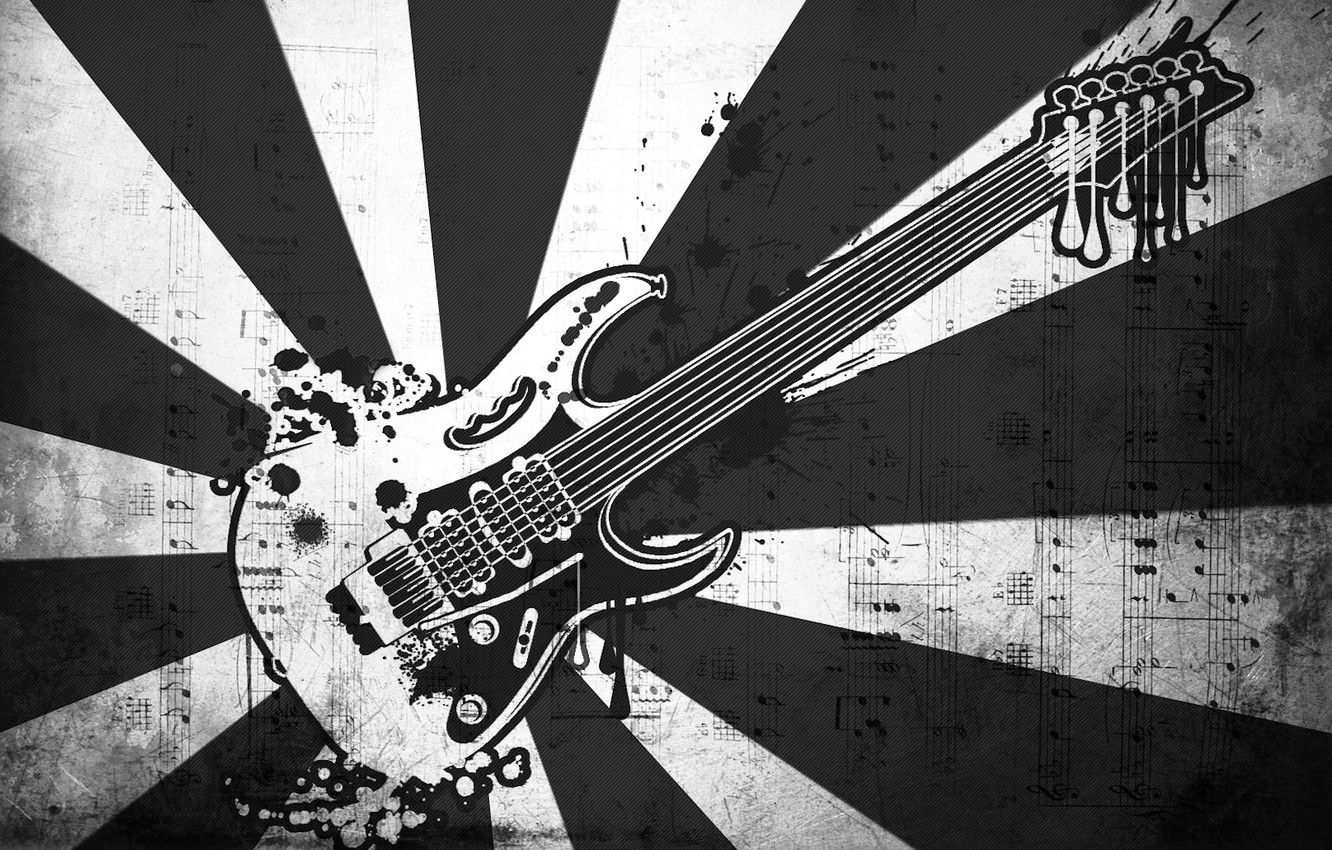 Photo wallpaper notes, music, black and white, vector, Guitar
