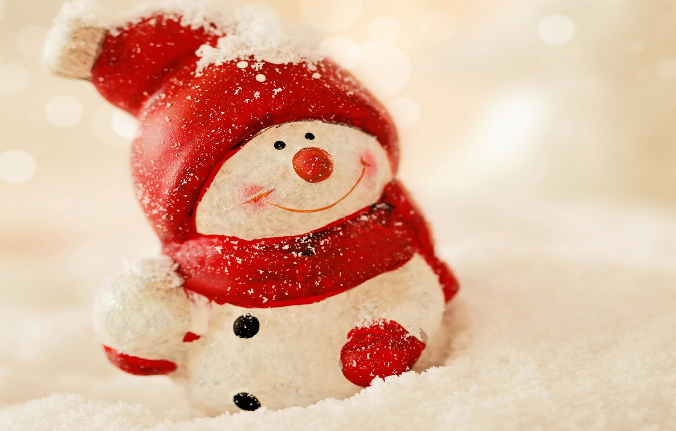 Photo wallpaper winter, snow, New Year, snowman, Christmas, winter, snow, Merry