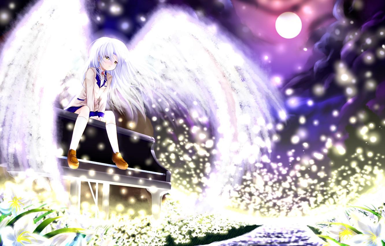 Photo wallpaper girl, flowers, night, the moon, wings, anime, piano, art, angel beats!, angel beats, kanade tachibana