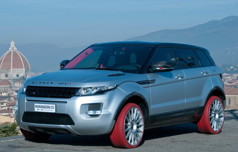 Photo wallpaper red, Land Rover, Range Rover, tuning, Evoque, Marangoni, Marangoni, colored tires, HFI-R