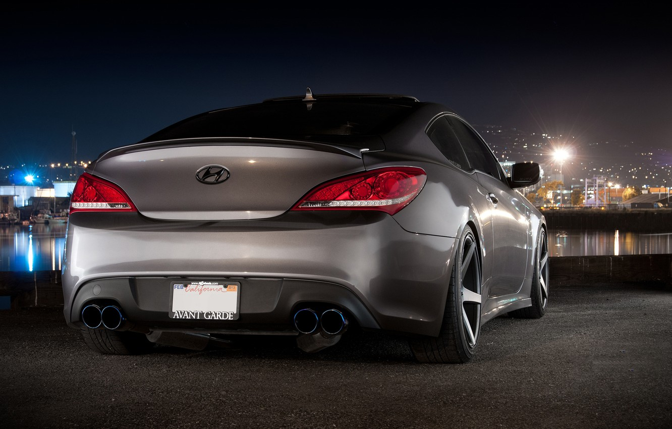 Wallpaper Auto Port Night Machine Hyundai Coupe Back Genesis