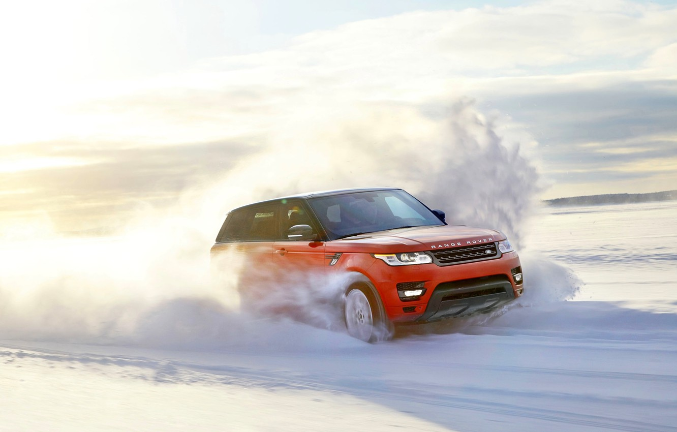 Photo wallpaper The sun, Red, Winter, Snow, Speed, Day, Land Rover, Range Rover, Sport, In Motion