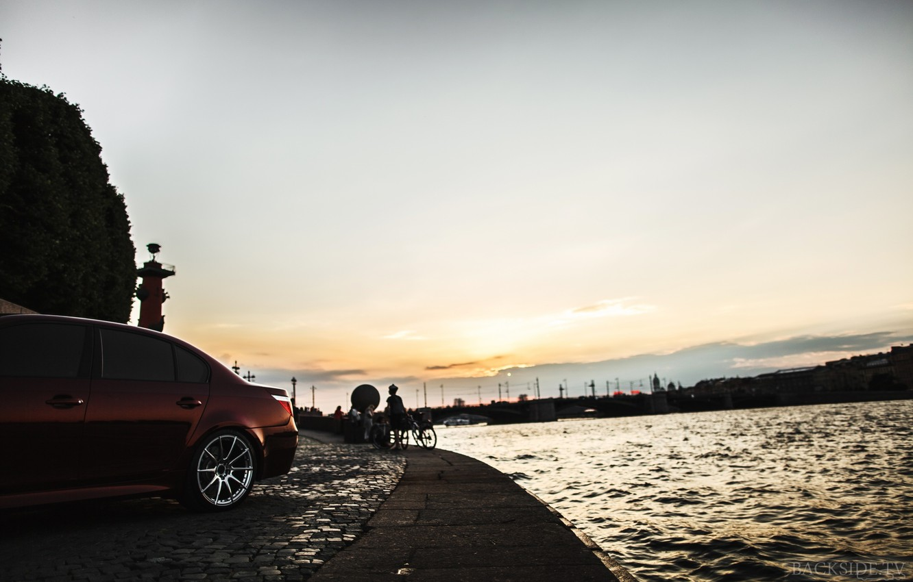 Photo wallpaper machine, auto, the sky, river, BMW, Shadow, auto, side, review, E60, The how to check …