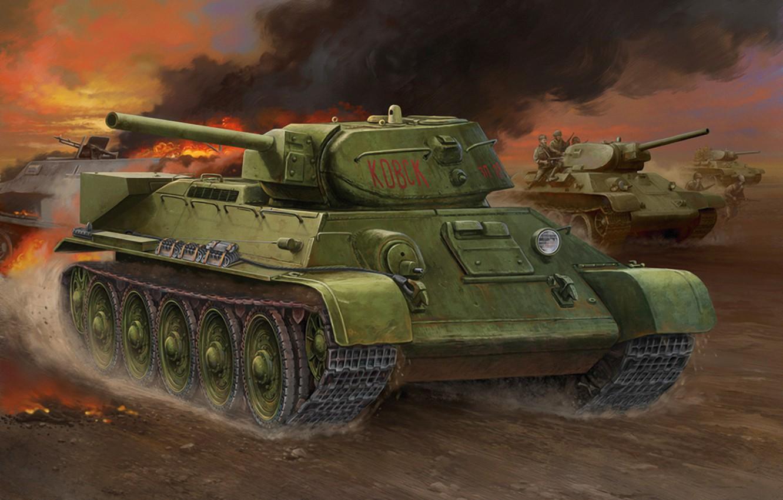 Photo wallpaper war, art, painting, tank, ww2, T-34-1942