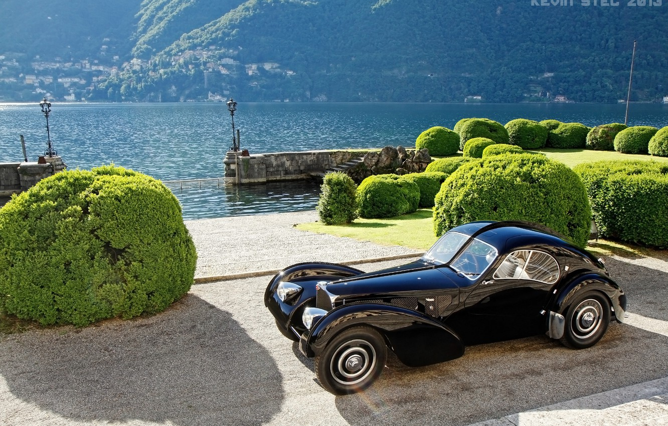 Photo wallpaper retro, Italy, classic, promenade, the bushes, Italy, 1938, lake Como, Lombardy, Como, Como, Lombardy, Bugatti …
