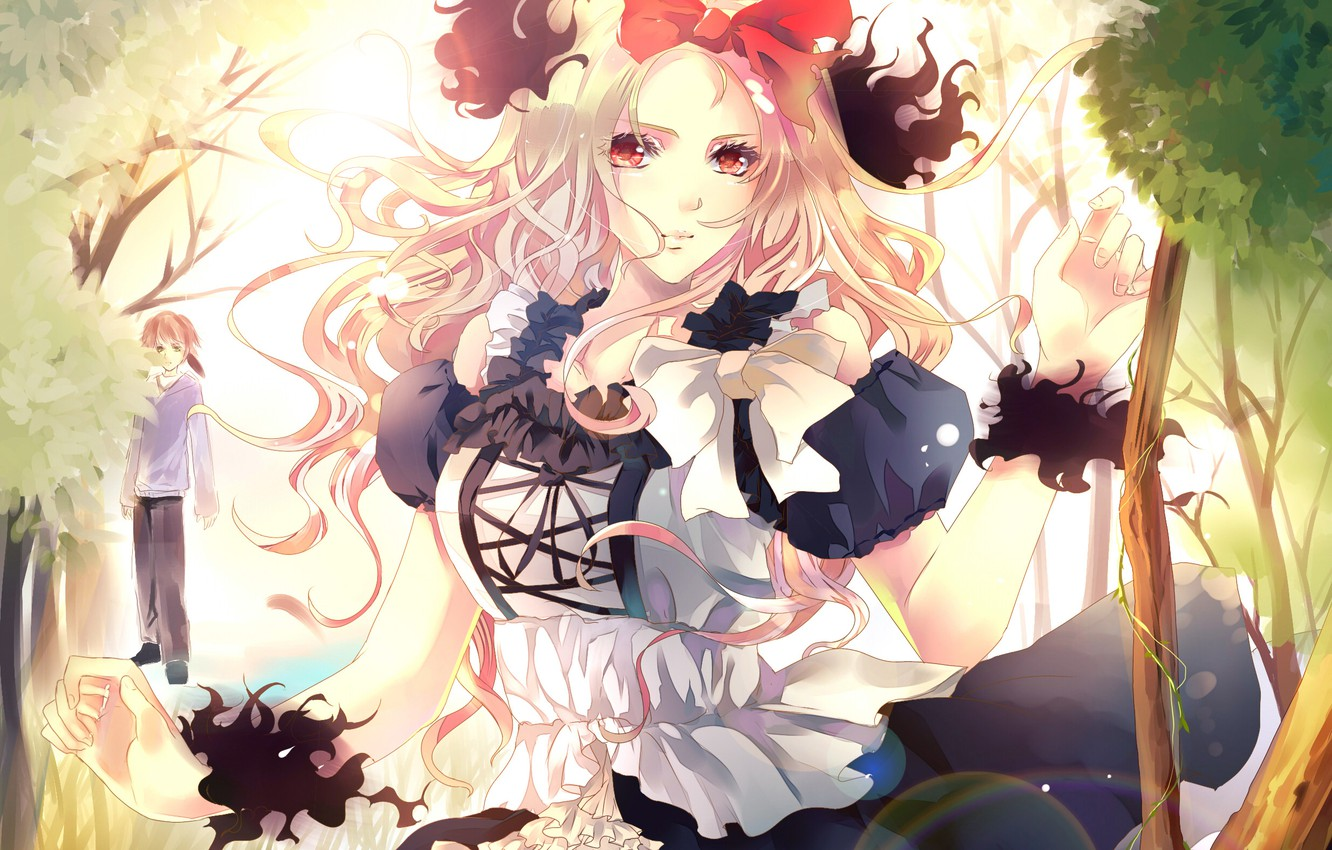 Photo wallpaper forest, girl, art, blonde, guy, bow, red eyes, aiki-ame, black flame