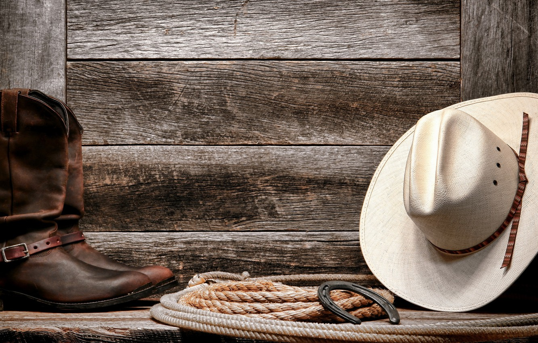 Photo wallpaper wall, Hat, boots, rope, Horseshoe