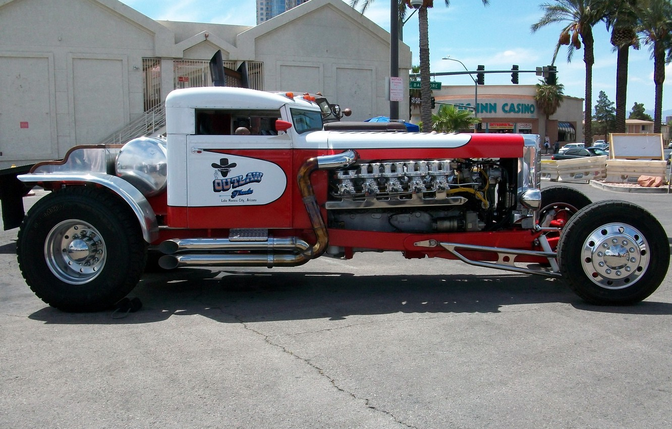 Photo wallpaper Red, Car, White, Truck, Peterbilt, Truck Wheels and Tyres, Truck V10 Engine