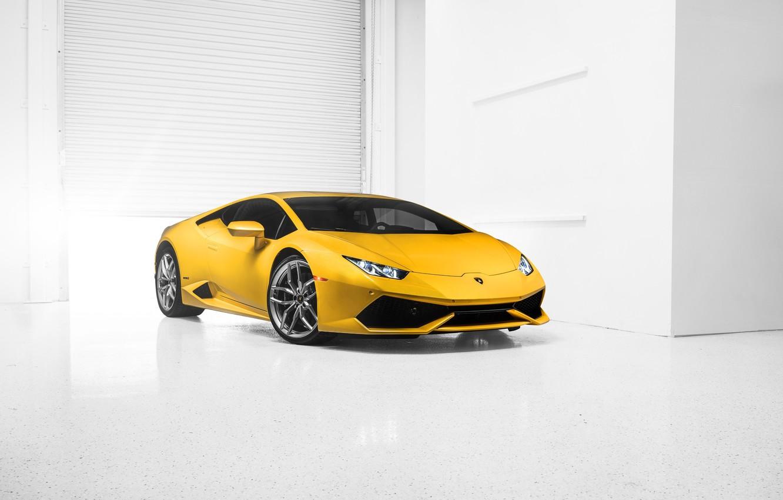 Photo wallpaper Lamborghini, Car, Front, Yellow, Photo, Supercar, 2014, Huracan, LP610-4