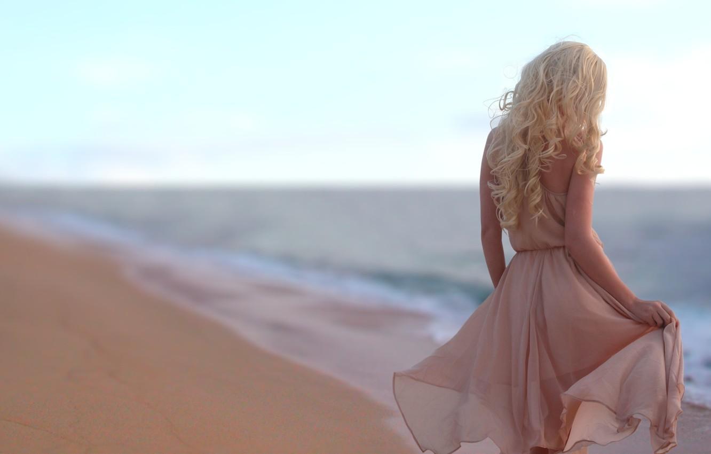 Photo wallpaper sand, sea, beach, girl, dress, blonde