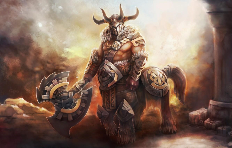 Photo wallpaper Game, armor, ruins, axe, dota 2, DotA, Bradwarden, Warchief, Centaur