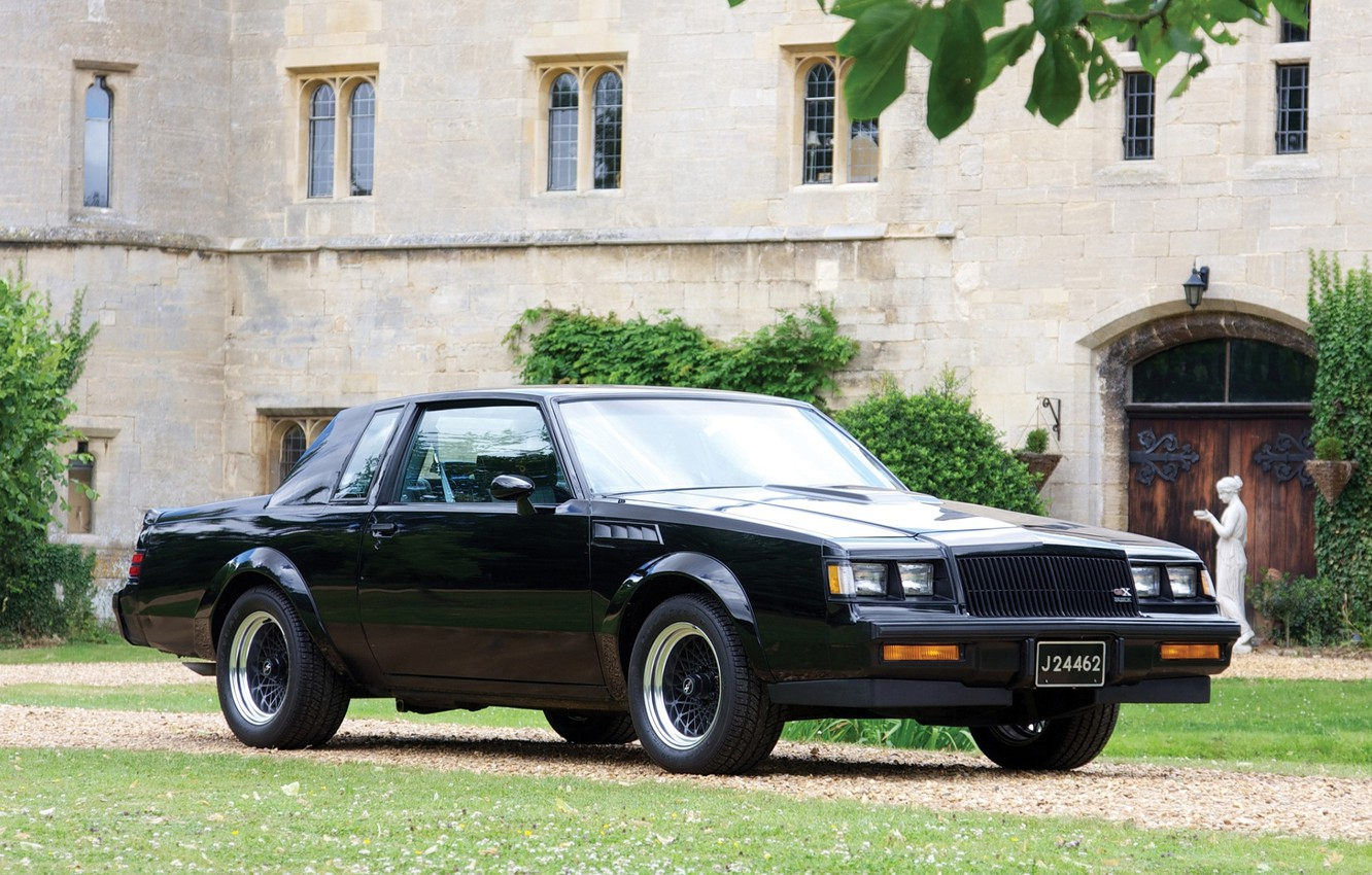 Photo wallpaper background, black, the building, Buick, the front, Buick, 1987, Grand Neyshnl, GNX, Grand National