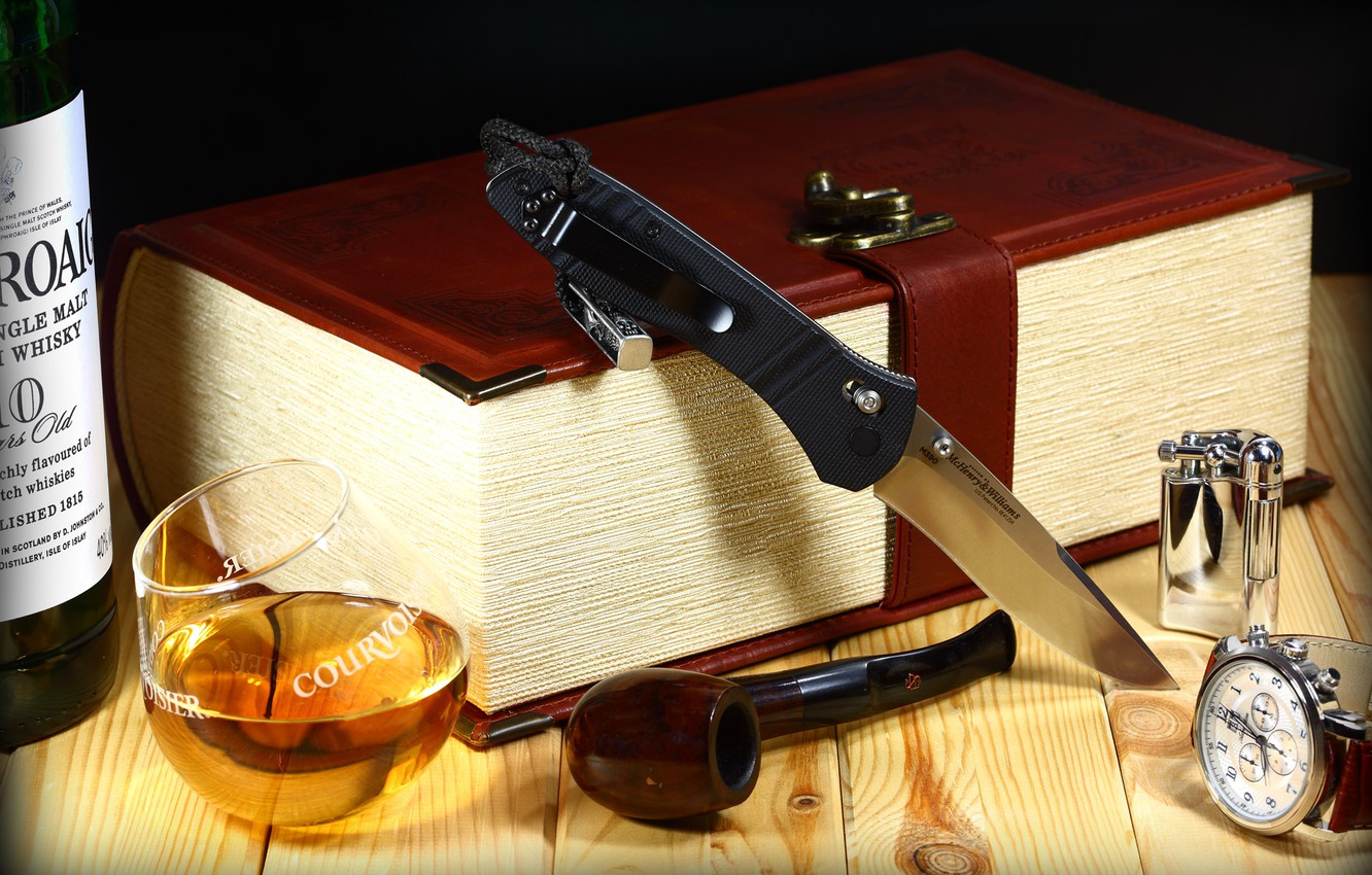 Photo wallpaper watch, glass, tube, lighter, knife, folding, benchmade, m390, .whiskey, book-box, McHenry & Williams