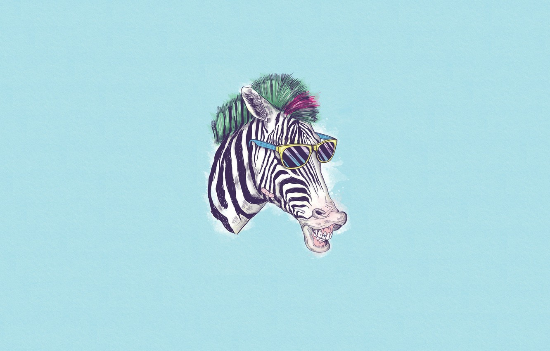 Photo wallpaper Minimalism, Humor, Glasses, Zebra, Art