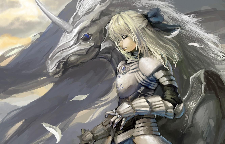 Photo wallpaper girl, horse, wings, art, unicorn, saber, fate stay night, shuyinnosi