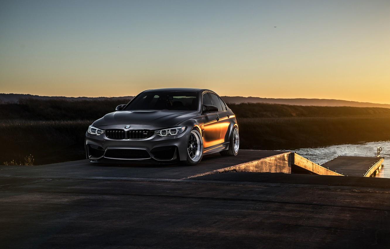 Photo wallpaper BMW, Carbon, Front, Black, Sun, Matte, View, F80, Mode