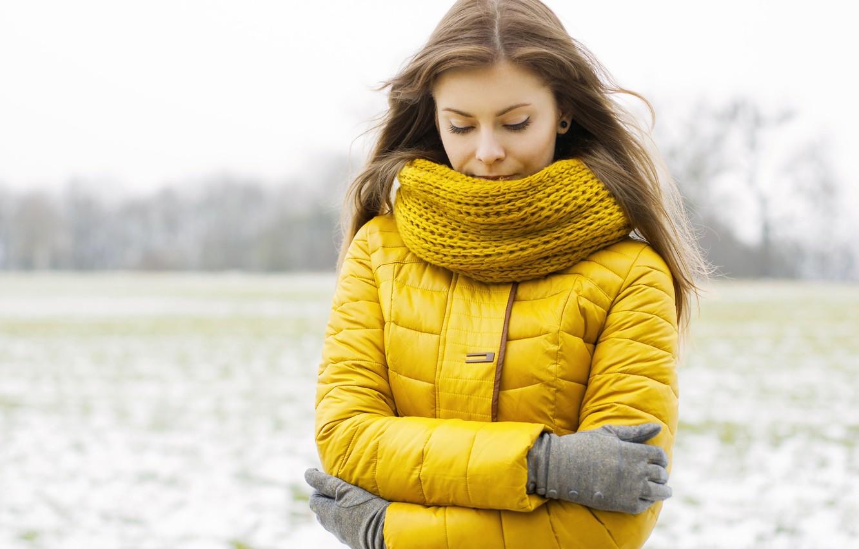 Photo wallpaper winter, field, girl, scarf, jacket, trees.
