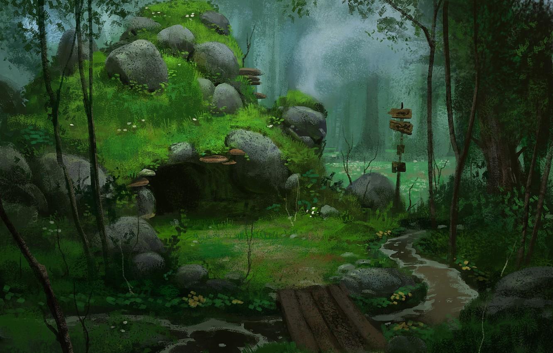 Photo wallpaper forest, bridge, stones, art, index, cave, river, den