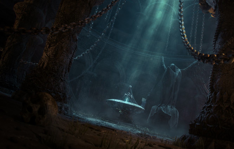 Photo wallpaper light, sword, fantasy, art, temple, statue, chain, abandonment, gloomy