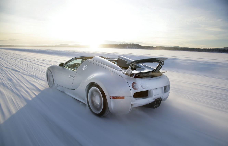 Photo wallpaper winter, speed, Bugatti, Veyron, Bugatti, winter, speed, Veyron, Grand Sport, 16.4