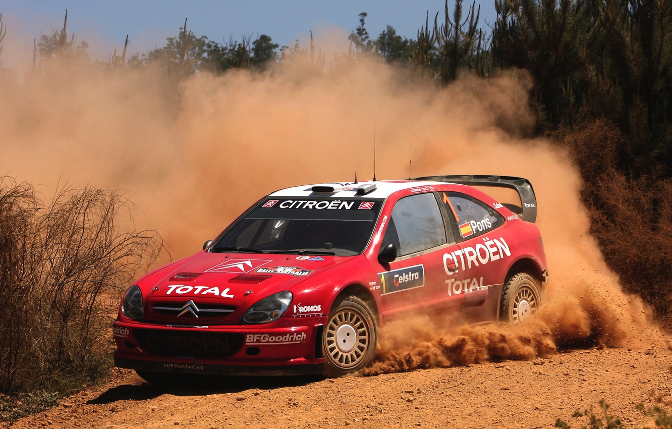 Photo wallpaper Red, Auto, Dust, Sport, Machine, Speed, Turn, Skid, Citroen, WRC, Rally, Rally, Xsara
