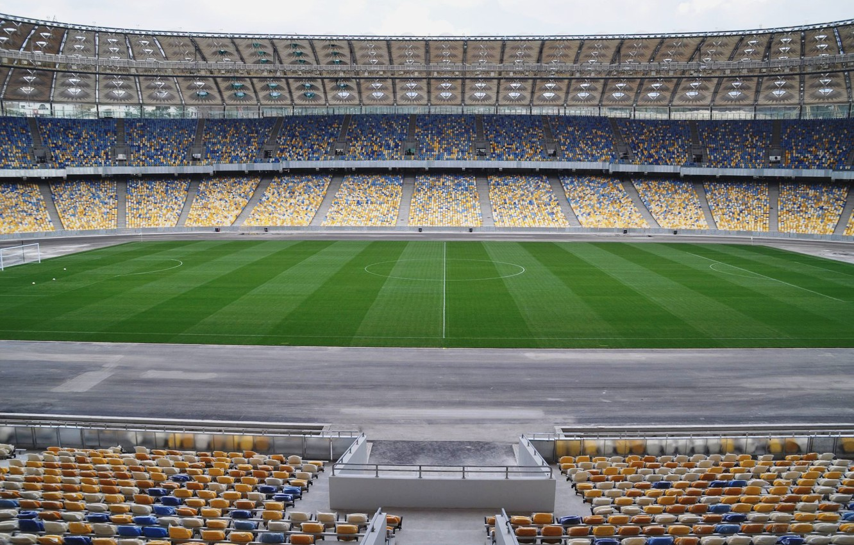 Photo wallpaper field, grass, line, the ball, green, center, tribune, Olympic, Kyiv, Dynamo, corner, NSC, NSK, Dynamo, …