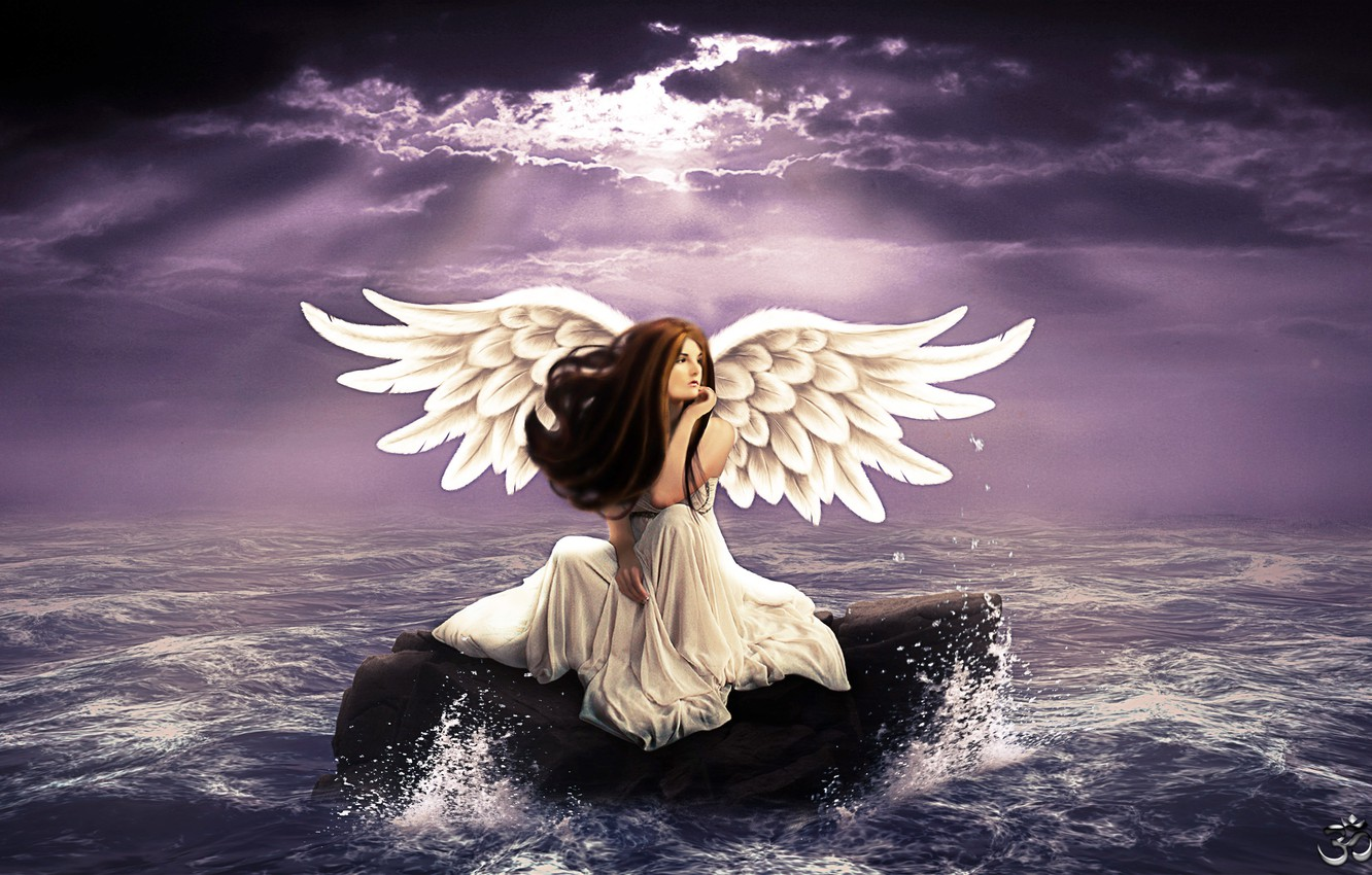 Photo wallpaper sea, wave, the sky, look, girl, reverie, face, wings, angel, white dress, long hair