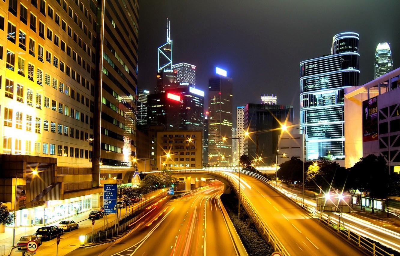 Photo wallpaper night, the city, lamp, movement